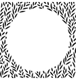 Black and white leaves circle frame background vector image