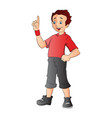 boy pointing forefinger up vector image