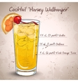 Cocktail Harvey Wallbanger vector image