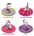 romantic relationship 2x2 design concept vector image