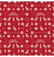 seamless retro red christmas pattern with deers vector image