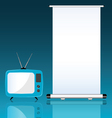 TV and roll up on blue background vector image