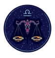 Zodiac sign Libra on night starry sky background vector image vector image