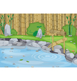lake and bamboo wall vector image vector image