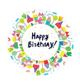 Happy birthday funny card for kids with town vector image vector image