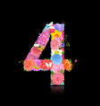 Fun number of fancy flowers on black background 4 vector image vector image