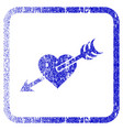 arrow heart framed textured icon vector image