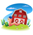 A worm reading at the hill with a barnhouse vector image vector image