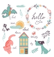 Cute preschool words collection vector image vector image