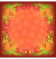 Background leaves flowers and feathers on red vector image