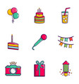 birthday party icons set flat style vector image