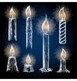 Candles collection with shining elements vector image
