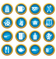 kitchen tools and utensils icons blue circle set vector image