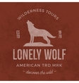 Old wilderness label with wolf and typography vector image