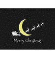 Santa Claus in a sleigh on background of the moon vector image
