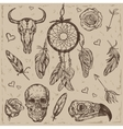 Skull Boho Tattoo Set vector image