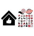 Thumb Up Building Flat Icon with Bonus vector image