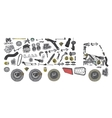 Images truck assembled from spare parts vector image