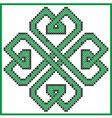 Celtic endless knot in clover with hearts element vector image