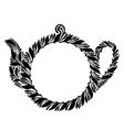 decorative silhouette teapot vector image