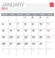 2015 January calendar page vector image