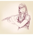 Girl playing the flute hand drawn vector image