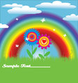 Bright spring with rainbow vector image