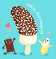 dark chocolate frozen banana pop vector image
