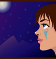 girl moon and mountains vector image