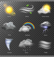 weather realistic 3d icons set sun cloud vector image