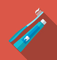 Flat design modern of tooth brush and paste icon vector image