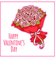 Card for Valentines Day with a bouquet of white vector image