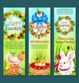 easter holiday egg rabbit chicken banner set vector image