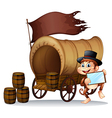 A monkey holding a mirror beside the carriage vector image vector image