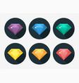 cartoon gem and diamond icon rainbow color vector image