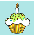 Muffin with candle vector image
