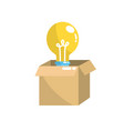 open box with electric bulb light vector image