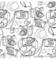 Vintage hand drawn cameras pattern vector image