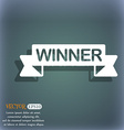Winner icon On the blue-green abstract background vector image