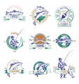 Fishing Colorful Labels Set vector image
