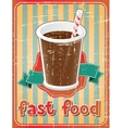 Fast food background with drink in retro style vector image vector image