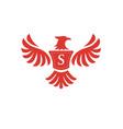 elegant phoenix with letter s logo vector image