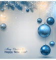 Blue Christmas background with fir twigs and balls vector image vector image