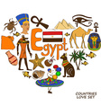 Egyptian symbols in heart shape concept vector image