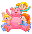 Three girls hugging pink teddy bear vector image vector image