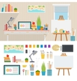 working place with artistic tools vector image