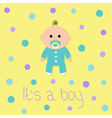 Baby boy shower card Its a boy Yellow background vector image