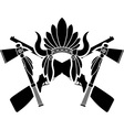 american indian headdress guns and tomahawks vector image