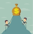 Businessman is climbing to get the money vector image