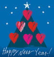 Christmas tree with hearts vector image